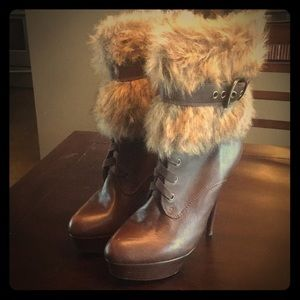 Bakers Shoes - Bakers fur trimmed leather boot